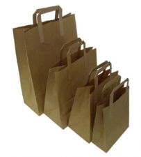 Brown and White SOS Block Bottom Paper Carriers