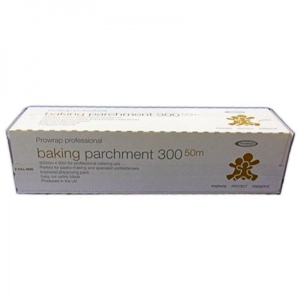 BAKE3912 - QUALITY PROFESSIONAL SILICON BAKING PARCHMENT ON A ROLL 300MM X 50M X 6