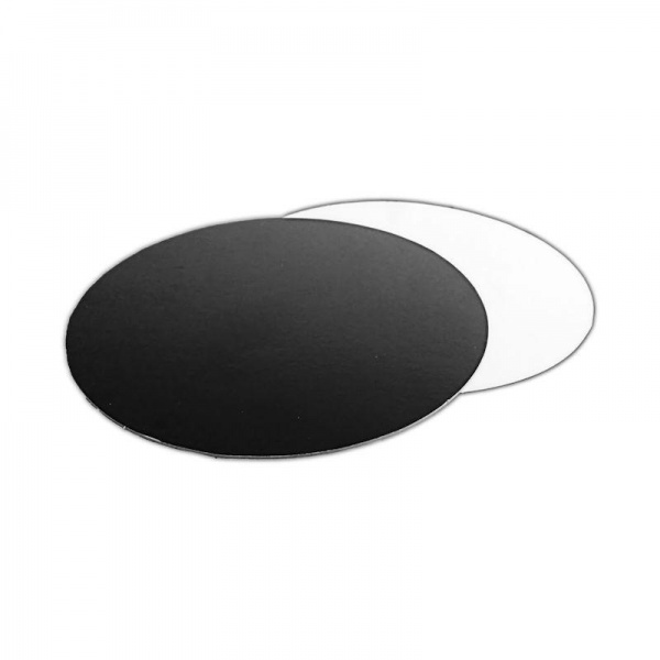 BWCB0343C25 - 10'' Round Black and White Poly Coated Cake Boards 1.5mm (25 PACK)