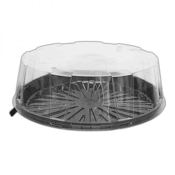 CKDM6625 - 6.25'' Clear Two Part Cake Dome With Black Base+Clear Lid 4'' Deep x 35