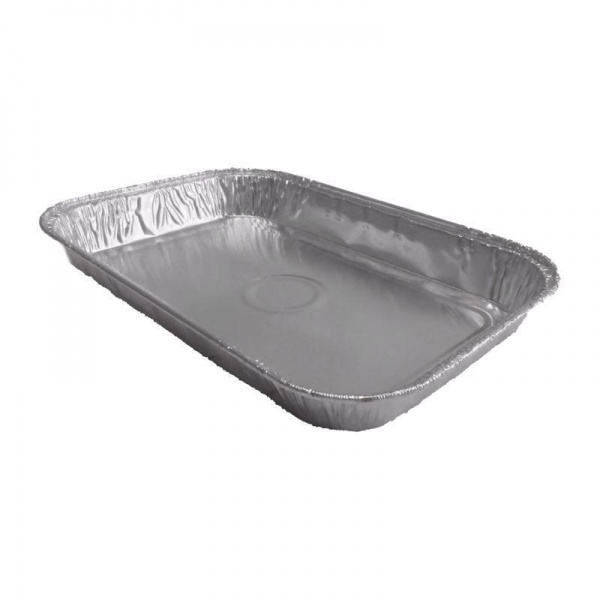 FOIL5002 - Rectangular Tray Bake Foil Container - 1 Inch Deep - 7.44 x 4.96 x 0.98'' (3234PL) x 166