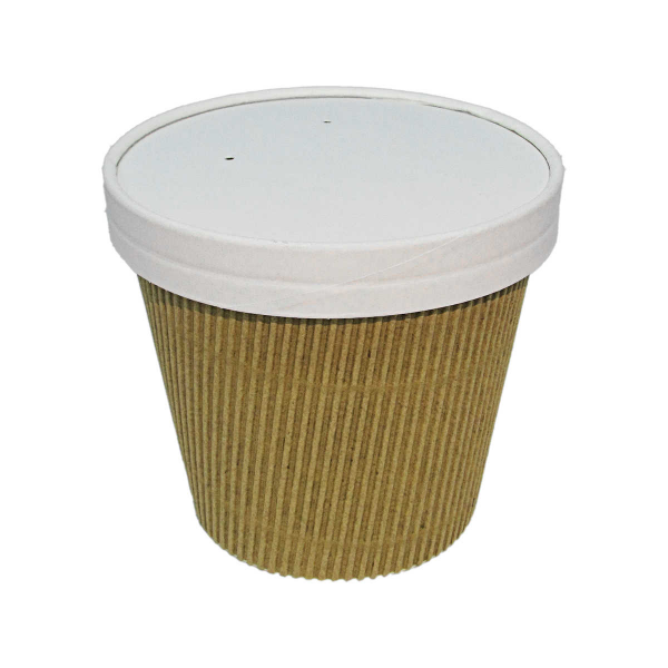 KRAFTSOUP16 - Kraft Ripple Soup/Pasta Container 16oz With Vented Paper Lid x 500