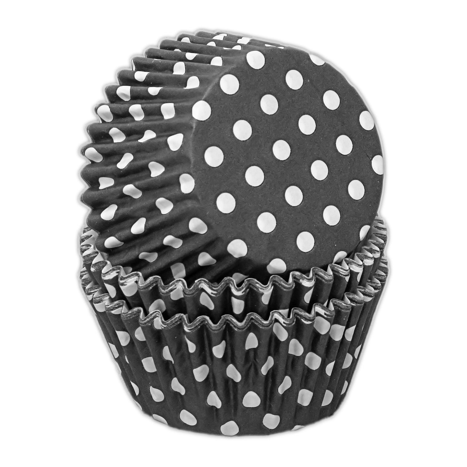 CCBS7760 - Black Polka Dot Muffin Cases 51gsm 51mm x 38mm x 180