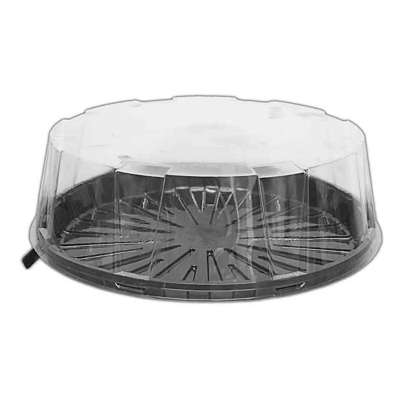 CKDM1201 - 12'' Two Part Cake Dome With Black Base + Clear Lid 4'' Deep x 1