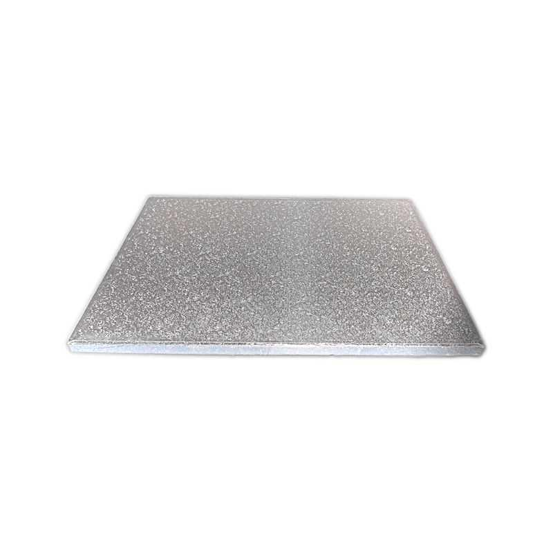 DRUM7102 - Square 12mm Silver Cake Drum 6'' x 5