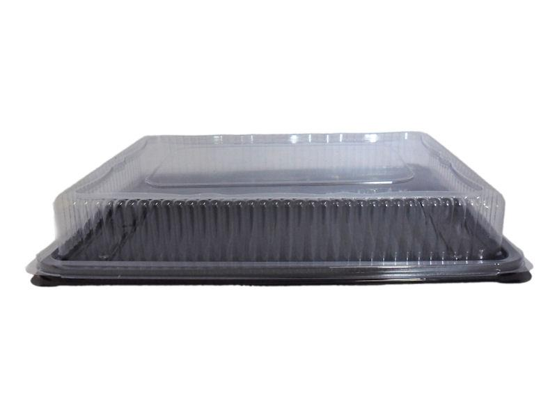 PLATT1 - Black Plastic Sandwich Platter With Clear Lid (50 Pack)