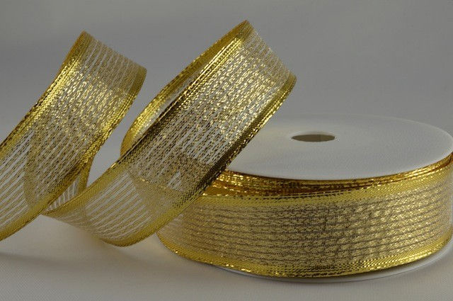 RIB1514 - Gold Shooting Lurex Wired Ribbon 15mm x 20 Meters