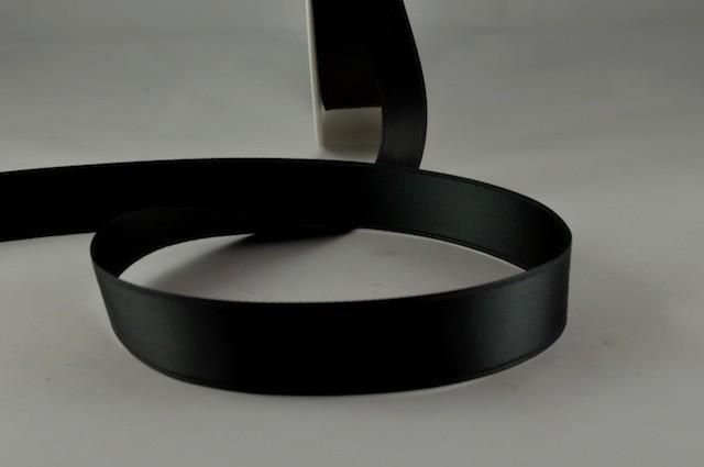 RIBBLACK1533 - Ribbon Double Faced Satin Black 15mm x 25 Meters