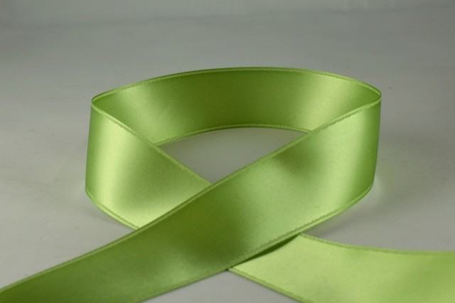 RIBPALEGREEN0706 - Ribbon Double Faced Satin Pale Green 7mm x 25 Meters