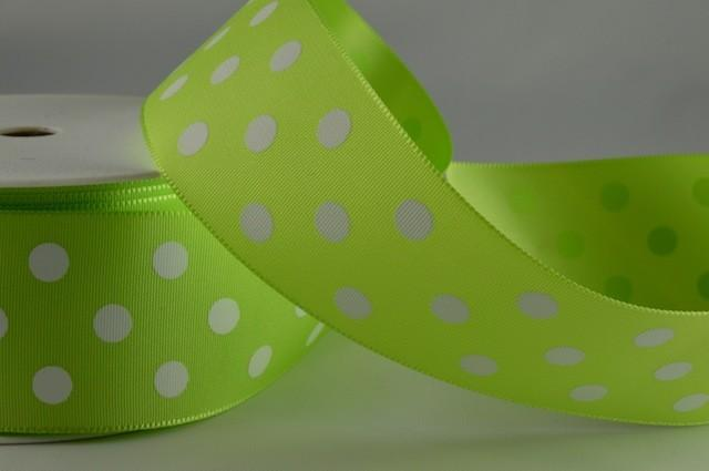 RIBPOLKA3801 - Polka Dot Green Ribbon 38mm x 20 Meters