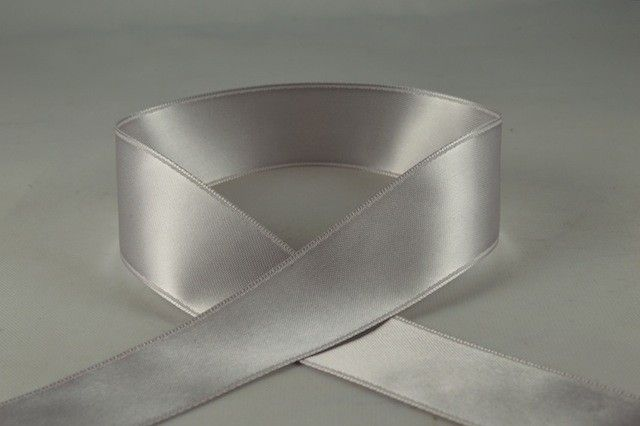 RIBSILVER2584 - Silver Double Faced Satin Ribbon 25mm x 25 Meters