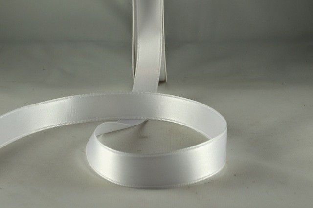 RIBWHITE1599 - Ribbon Double Faced Satin White 15mm x 25 Meters