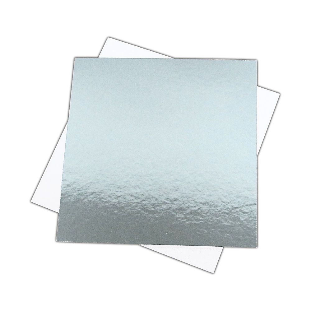 SCC669425 - 6'' Square Silver/White Cut Edge Cake Boards x 25