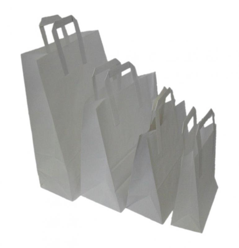 WBPB3572 - MEDIUM WHITE SOS BLOCK BOTTOM PAPER BAGS 8.5'' X 10'' X 4.25'' X 250