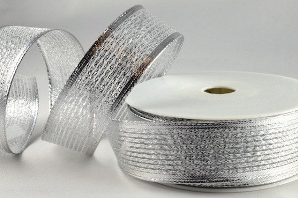 RIB1513 - Silver Shooting Lurex Wired Ribbon 15mm x 20 Meters