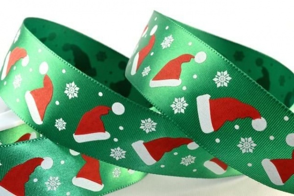 RIB1530 - Santa Hats  Green Satin Ribbon 25mm x 20 Meters