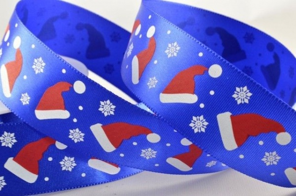 RIB1531 - Santa Hats Blue Satin Ribbon 25mm x 20 Meters