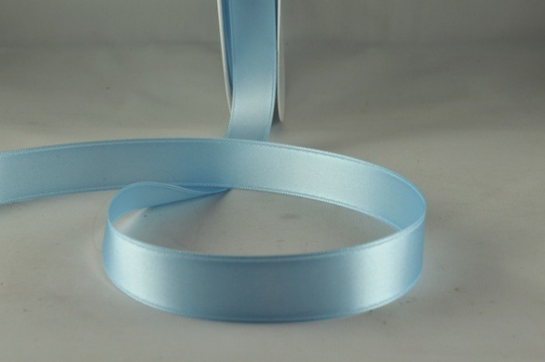 RIBBLUE1501 - Ribbon Double Faced Satin Baby Blue 15mm x 25 Meters