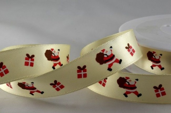 RIBC1517 - New 2016 Ivory Santa & Presents Print Satin Ribbon 15mm x 20 Meters