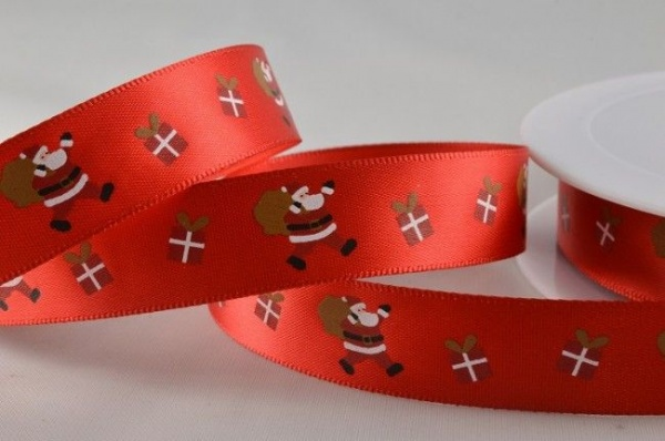 RIBC1520 - New 2016 Red Santa & Presents Print Satin Ribbon 15mm x 20 Meters