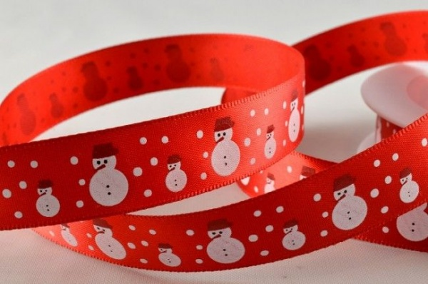 RIBC1536 - New 2016 Red Satin Snowmen Print Ribbon 15mm x 20 Meters