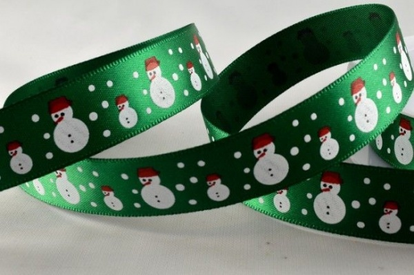 RIBC1551 - New 2016 Green Satin Snowmen Print Ribbon 15mm x 20 meters