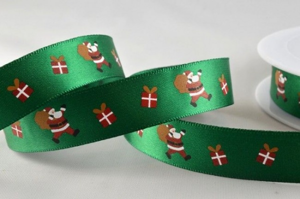 RIBC1567 - New 2016 Green Santa & Presents Print Satin Ribbon 15mm x 20 Meters