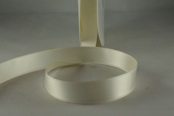 RIBESHELL1550 - Ribbon Double Faced Satin Egg Shell 15mm x 25 Meters