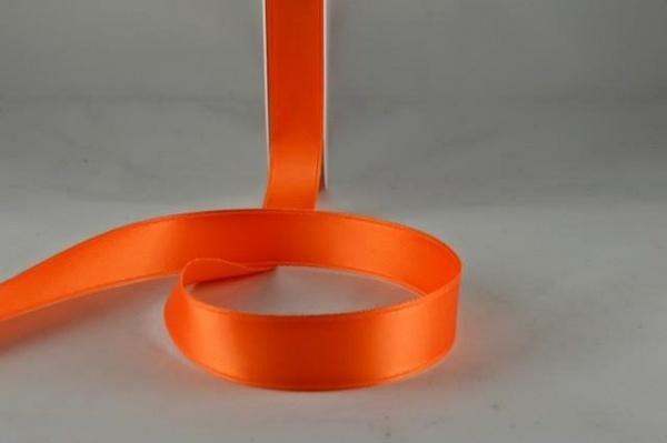 RIBORANGE1522 - Ribbon Double Faced Satin Orange 15mm x 25 Meters