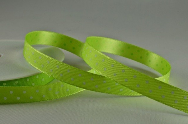 RIBPOLKA1062 - Polka Dot Green Ribbon 10mm x 20 Meters