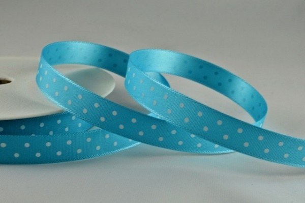 RIBPOLKA1074 - Polka Dot Blue Ribbon 10mm x 20 Meters