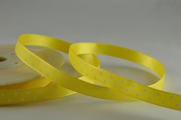 RIBPOLKA1089 - Polka Dot Yellow Ribbon 10mm x 20 Meters