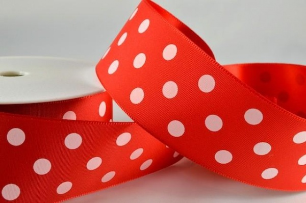 RIBPOLKA3800 - Polka Dot Red Ribbon 38mm x 20 Meters