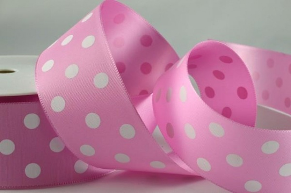 RIBPOLKA3802 - Polka Dot Pink Ribbon 38mm x 20 Meters
