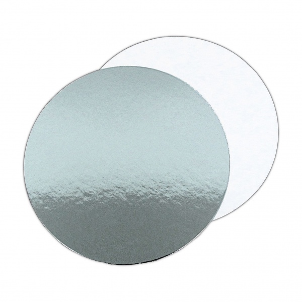 SCC669225 - 11'' Round Silver/White Cut Edge Cake Boards x 25